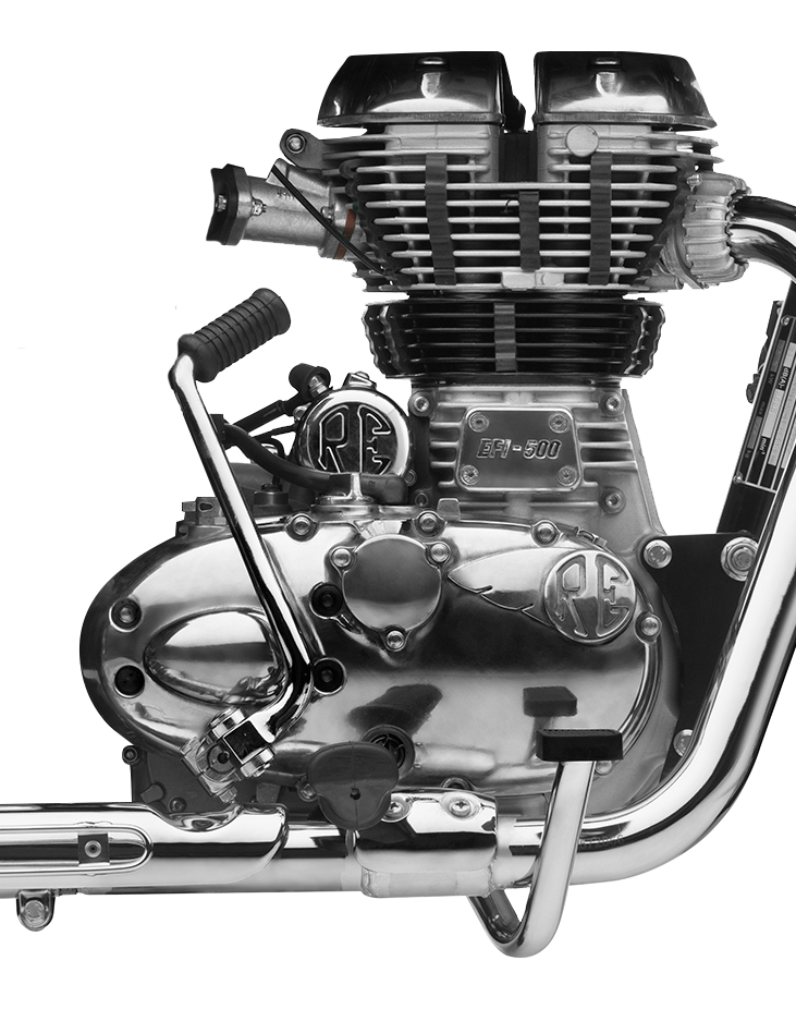 a close up image of a royal enfield classic 500 engine