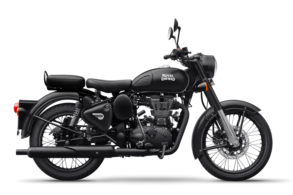 side studio image of a royal enfield classic 500 dark in stealth black