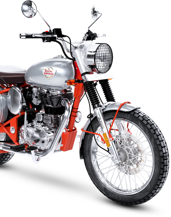 front half of the royal enfield red bullet 500 trials motorcycle