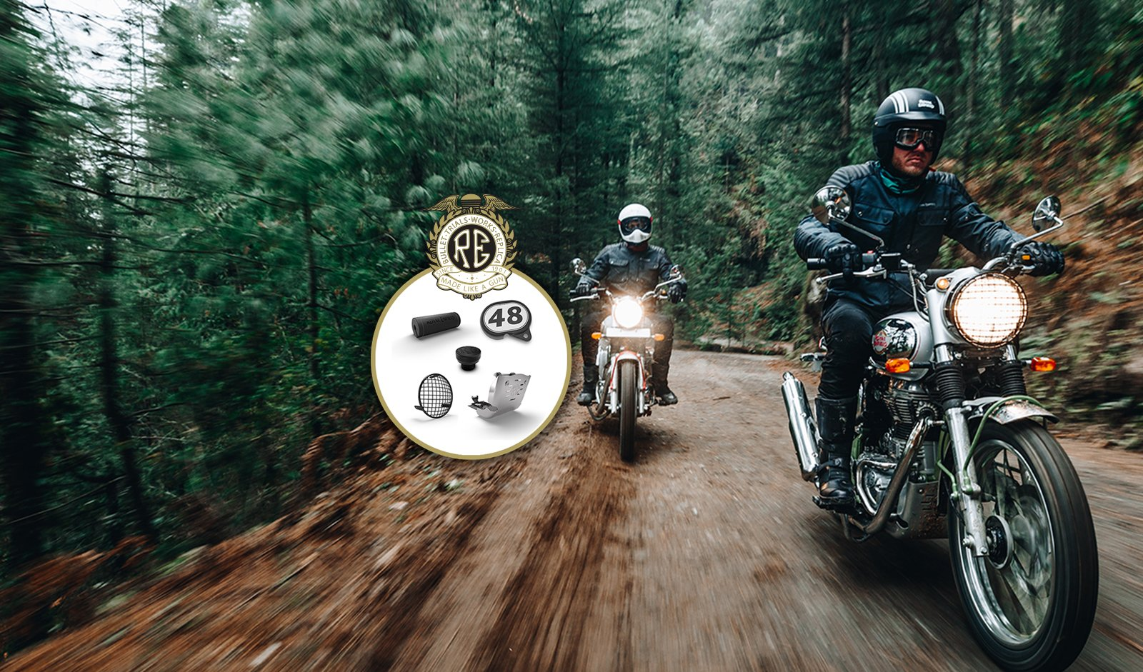 two royal enfield bullet trials motorcycles riding through the forest