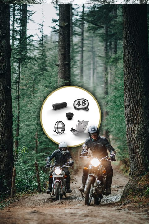 two royal enfield bullet trials works replica motorcycles in the woods